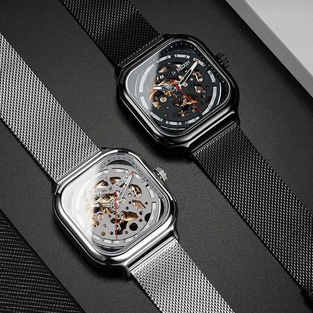 8d36990c600f Mejor Reloj Mecánico Nesun esqueleto a la moda reloj de pulsera ...