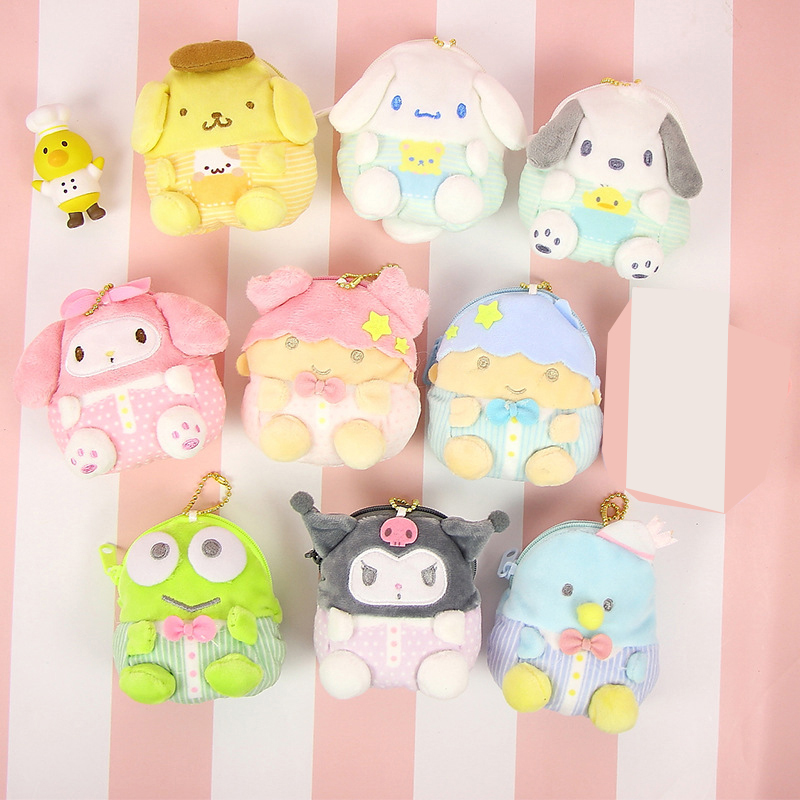 Anime Kawaii Sanrio Series Cat Melody Plush Purses Soft Cinnamoroll Dog Stuffed Plush Toy Purses Toys Bags Pendant Girls Gifts
