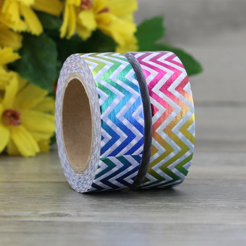 2017 Foil Washi Tape Paper Mixed Colors Chevrons DIY Masking Tape Decorative Adhesive Tapes Scrapbooking Stickers Size 15mm*10m