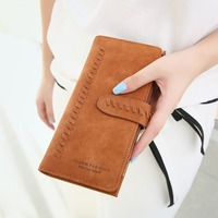 Nubuck Pu Leather Wallet Women Long Design Clasp Purse Female Trifold Wallet Clutch Large Capacity Women