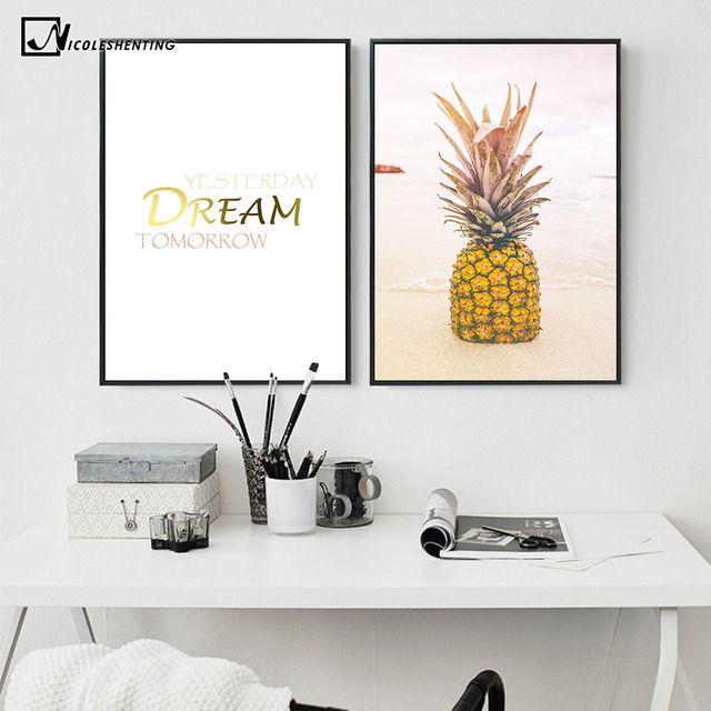 Pineapple Quote Motivational Nordic Poster Prints Minimalist Wall Art Canvas  Painting Modern Picture Home Decor Room