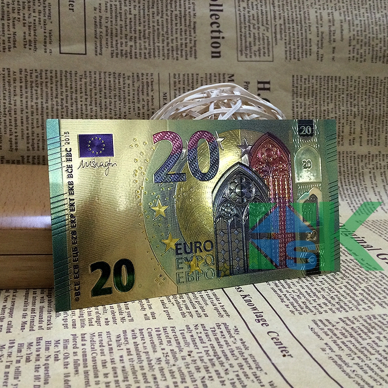 10pcs/lot Good quality artwork colorful 20 Euro currency souvenir gold foil plated Euro banknote collectible fake money for gift