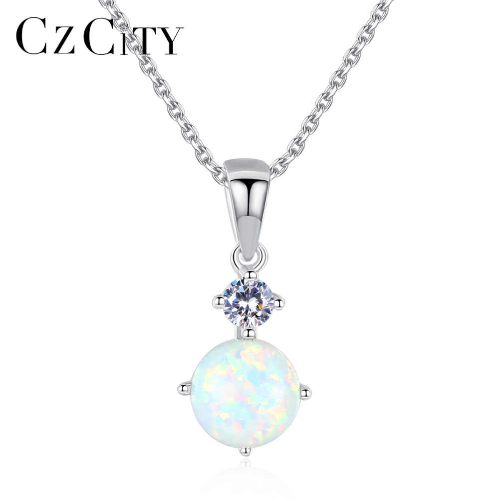CZCITY Exquisite Sterling Silver 925 Round Opal Pendant Necklace for Women Cut Silver Chain Pendant Necklaces Fashion Jewellery