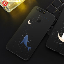 Silicone Case For Huawei Honor 8 Case Cover Stars And Space Whale Pattern Design For Huawei Honor 9 10 Case Shockproof Bumper(China)
