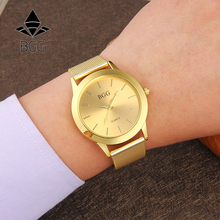 Hot Geneva Style Full Stainless Steel Women's Fashion Watches Luxury Brand Gold Watches Women Quartz Clock With Mesh Band Hours