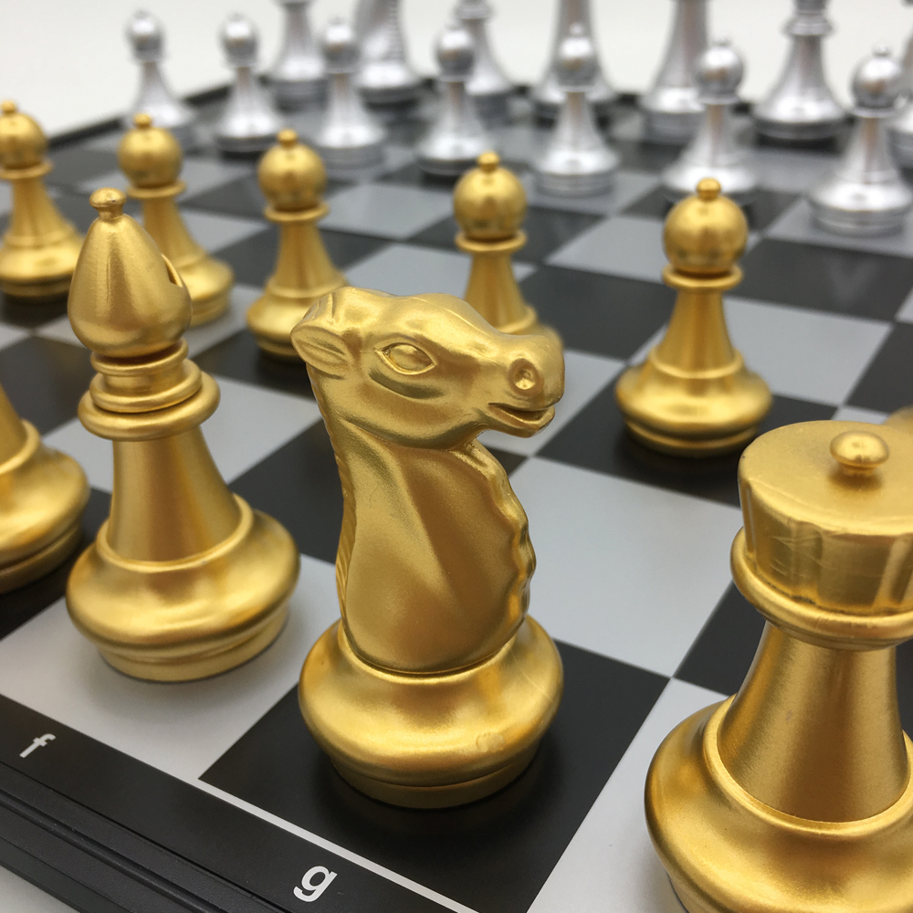 цена на Plastic Folding Magnetic Chess Golden & Silver Pieces Board Size 36 cm x 36 cm king 8.1 cm Large Chess Set For Gift Travel Game