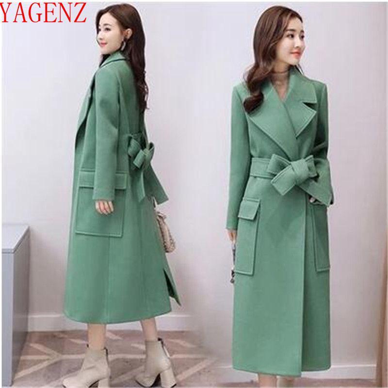 849 Brown Et Qualité Laine Automne Mode Corée Taille Hiver De Cachemire Haute Manteau Femmes Élégant Vêtements 2018 Grande Green light Nouveau Mince xUfwqHxt
