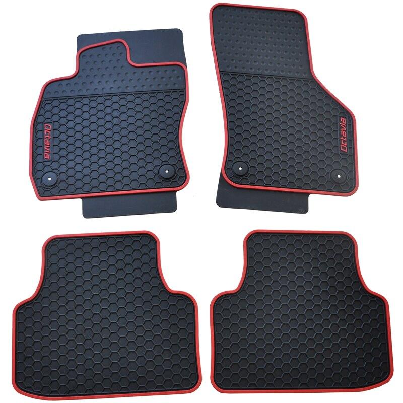 ФОТО special waterproof no odor senior latex carpets rubber rugs car floor mats with original  buckle for 15-16 SkodaOctavia