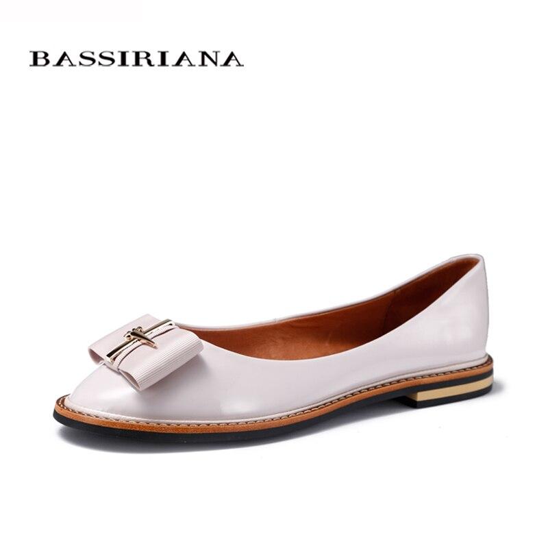Bassiriana 2017 zapatos de mujer de cuero genuino pisos zapatos de las señoras d