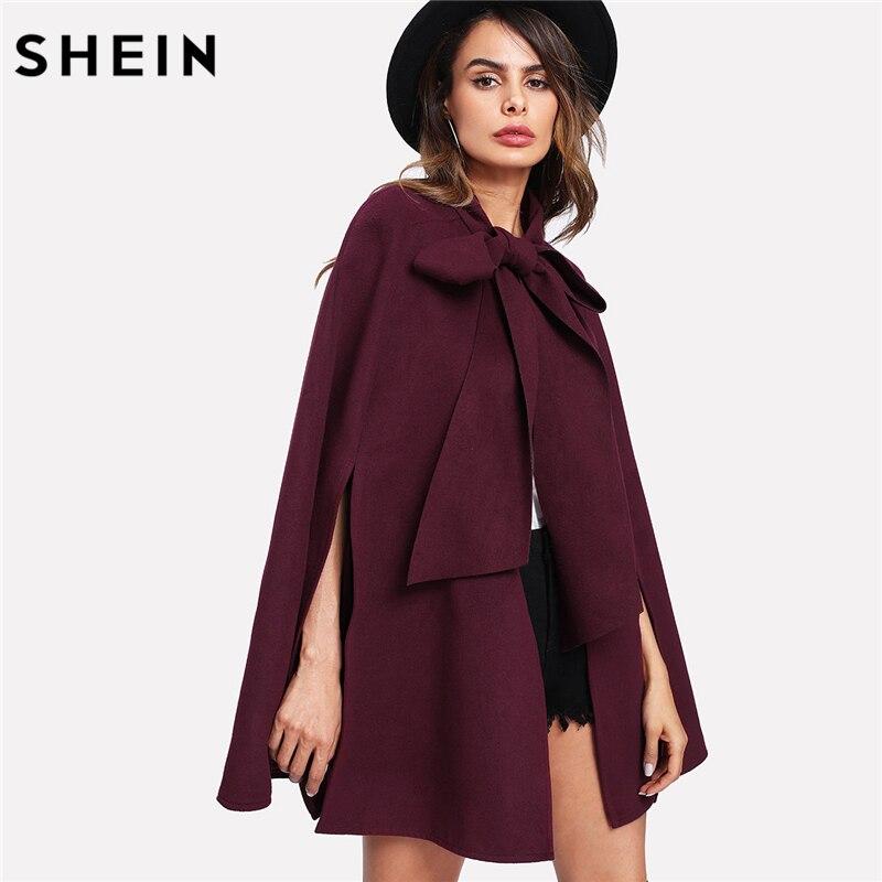 SHEIN élégant femme automne manteau coréen mode vêtements pour femmes bordeaux manches longues fente dos attaché avant Cape manteau