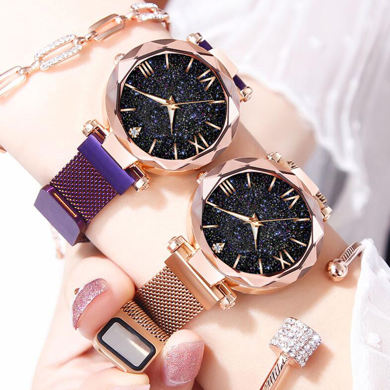 Luxury Ladies Bracelet Watch Starry Sky Dial Women Casual Quartz Clock Mesh Strap Waterproof Women Dress Watch Montre Femme