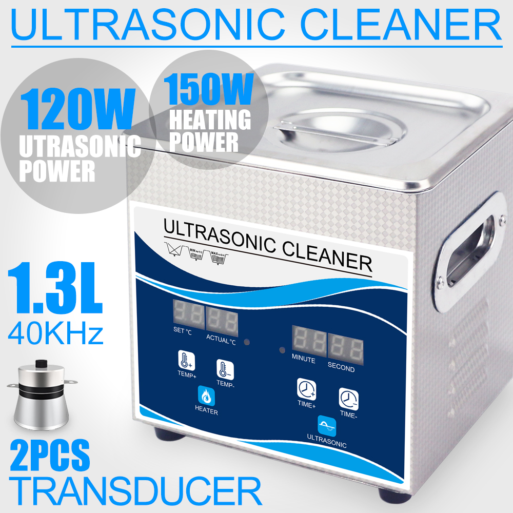 Household Ultrasonic Cleaner 1.3L High Pressure Cleaner 120W Degas Heater Timer Stainless Steel Bath Basket Jewelry Watches PartHousehold Ultrasonic Cleaner 1.3L High Pressure Cleaner 120W Degas Heater Timer Stainless Steel Bath Basket Jewelry Watches Part