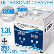 Household Ultrasonic Cleaner 1.3L High Pressure Cleaner 120W Degas Heater Timer Stainless