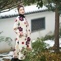 MM012 Новое Прибытие пальто женщин свободные линии 3d цветочные длиной макси шерстяное пальто зима 2016