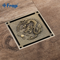 Frap Shower Drain 10X10cm Antique Solid Brass Floor Drain Cover Strainer Bathroom Bath Accessories Art Carved Square DrainY38070