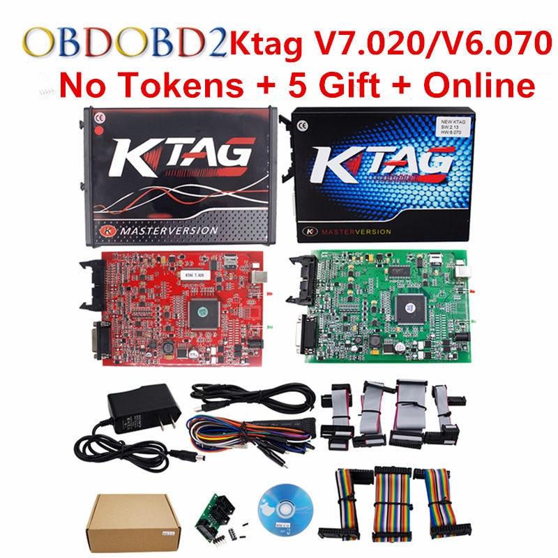 K-TAG V7.020 KTAG V2.23/K TAG V6.070 ECU Chip Tuning Tool Red KESS V5.017 V2.47 OBD2 ECU Programmer Unlock Limit Master Version цена 2017