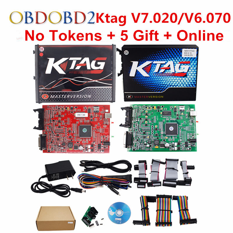 K-TAG V7.020 KTAG V2.23/K TAG V6.070 ECU Chip Tuning Tool Red KESS V5.017 V2.47 OBD2 ECU Programmer Unlock Limit Master Version