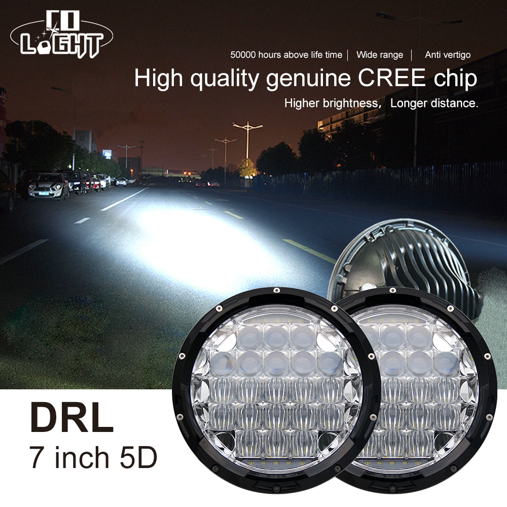 CO LIGHT 7 Inch LED Headlights 5D Hi/Lo 70W 35W 12V Led DRL for Hummer Lada Niva UAZ 4x4 Motorcycle Offroad 4x4 SUV ATV Passat цена