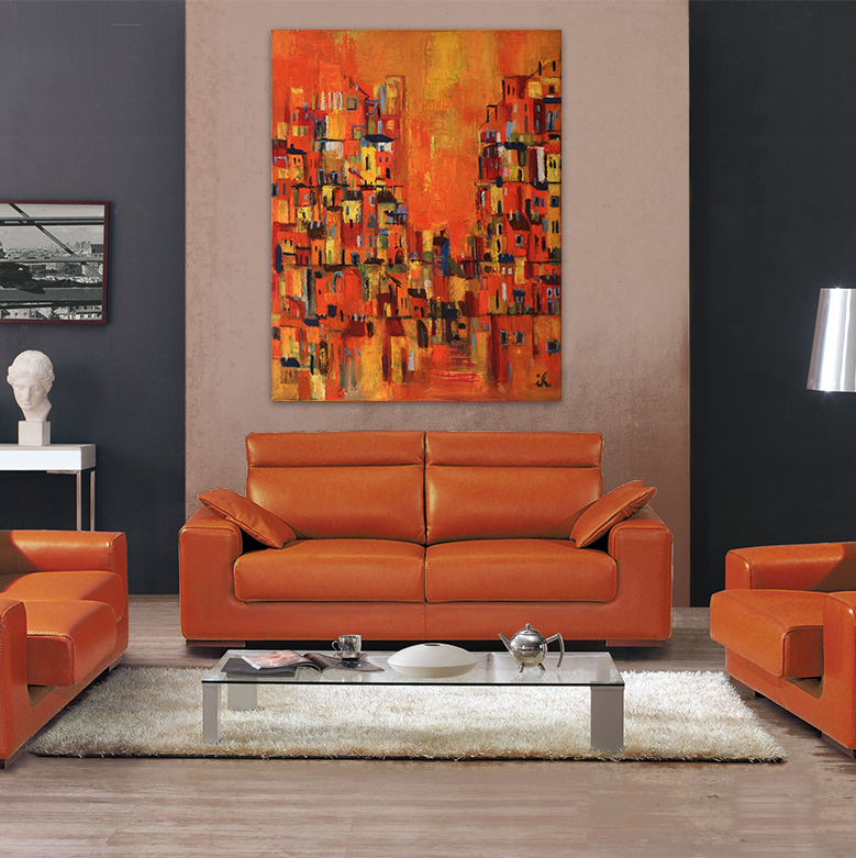 moderne paysage peinture originale toile mur art peint b timent orange abstraite ville orange. Black Bedroom Furniture Sets. Home Design Ideas