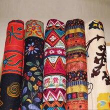 Vintage estilo folk tela de algodón impreso retro de algodón y tela de lino por metro para coser tapicería artesanías Material
