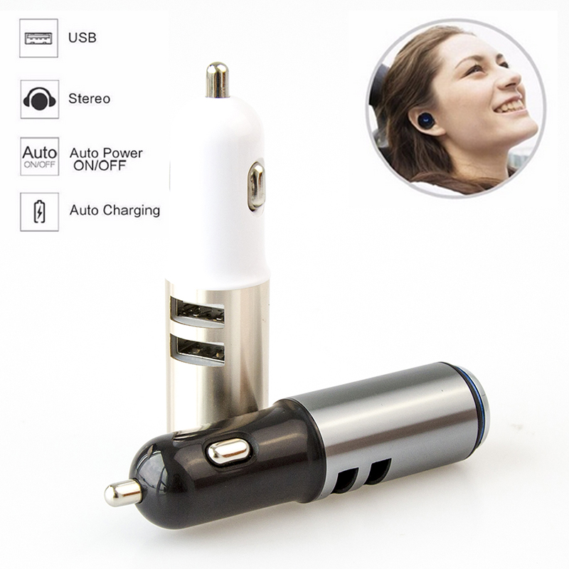 New Wireless Car Charger USB interface Bluetooth Stereo Headset Answer call For Phone Mini Adapter BT 4.1 Earphone Auto charging 3in1 mini bluetooth headset kulaklik usb car charger safety hammer micro wireless earphone for samsung galaxy s7 auriculares