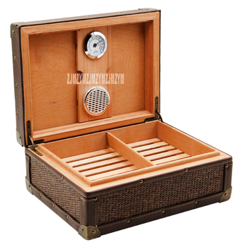 Classic Retro Style Wood Cigar Humidor Box Large Capacity Humidor Box Constant Humidity Cigar Box With Hygrometer And Humidifier