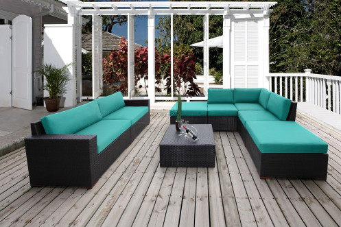 2017 Home And Gardens Outdoor Wicker Furniture 8 Piece Patio Sectional  Conversation Set