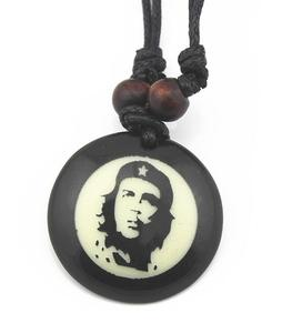 Cool Boy Men Ernesto Che Guevara Round Pendant Necklace Punk Rock Resin leather hand Adjustable hemp rope Jewelry Gift Wholesale(China)