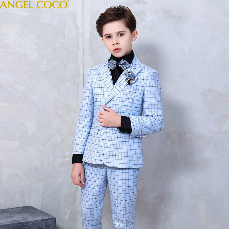 New School Kids Plaid Suit England Style Boys Formal Wedding Blazer Suit Boys Birthday Suit Brand New Year Tuxedos Prom Suits 2018 new arrival boy suits england style boys blazer long sleeve plaid for kids clothes