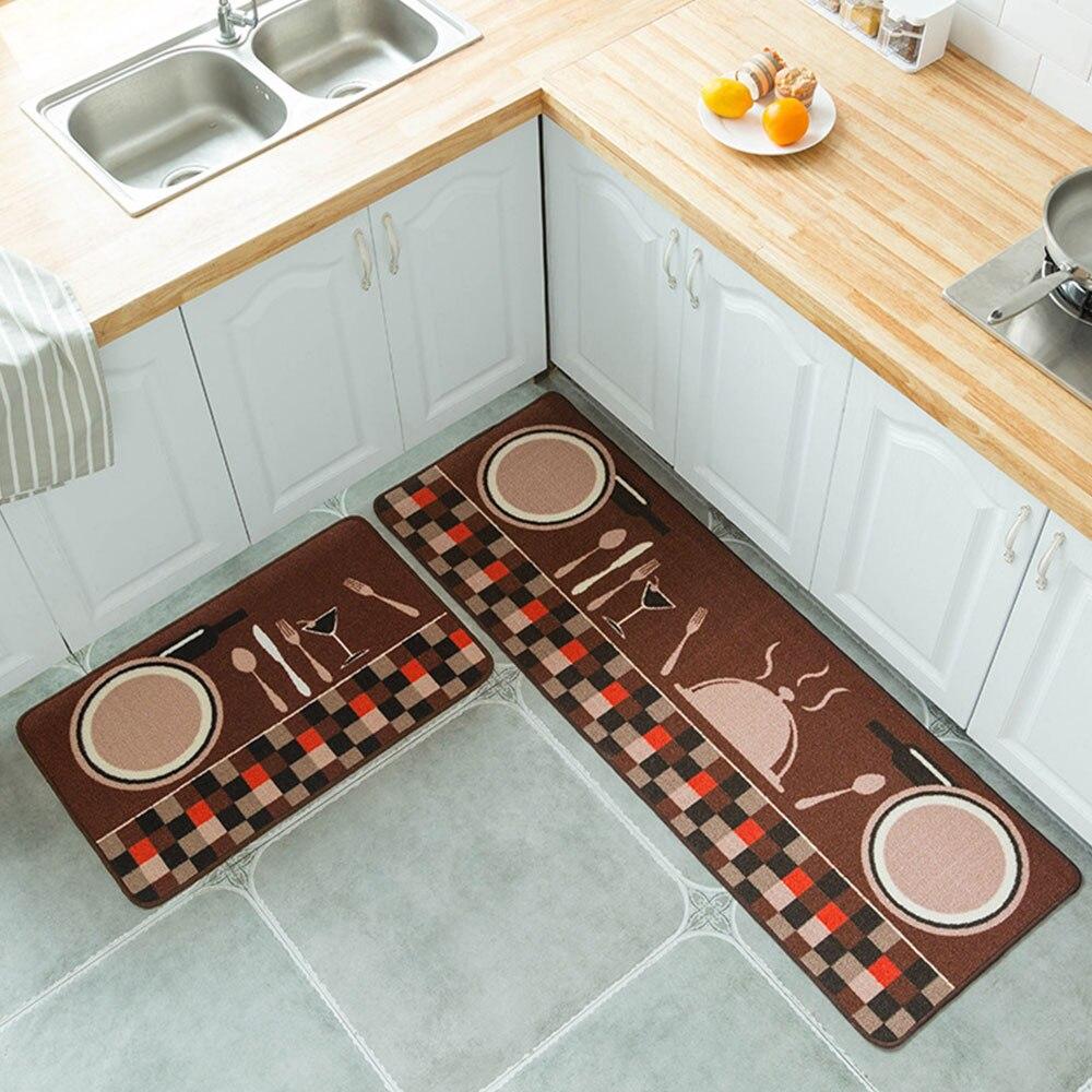 2 шт. 1 комплект ковер из полиэстера Нескользящая кухня спальня удобный мягкий мультфильм Tapete дверные стулья гостиная напольный коврик - Цвет: Plate and fork