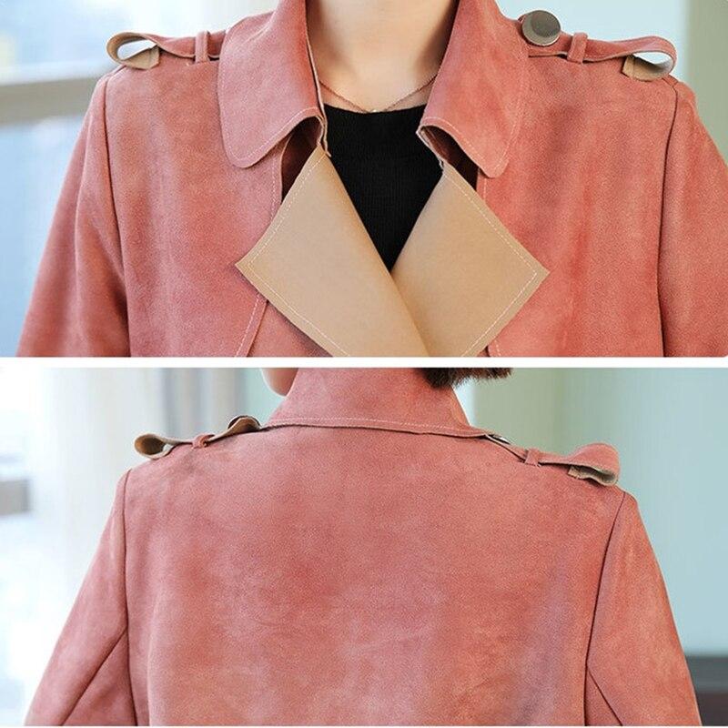 Long Tranchée Daim Nouvelle Taille Manteau Mode Femme H599 Coupe 2019 Plus Femmes Printemps Gray vent La Chamois red Slim Impression Automne Manteaux xwF0FzqBd