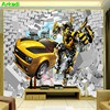 3d retro creative car broken wall paper transformers children room bedside background wall decoration car exhibition mural 1