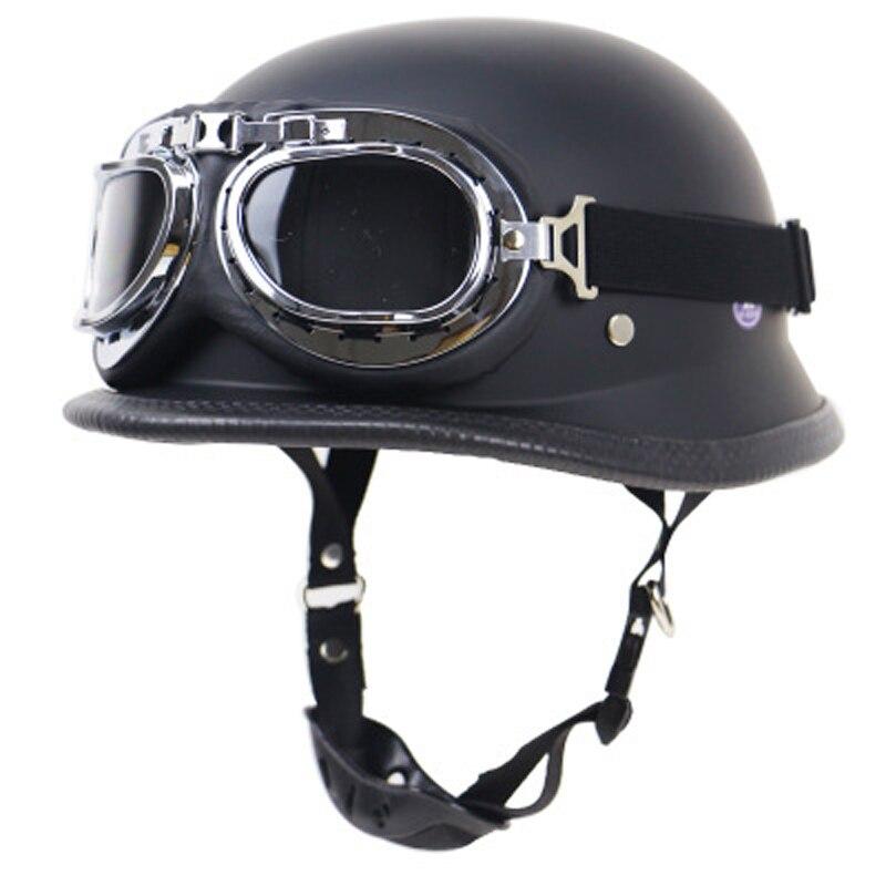 Noir Adulte Open Face Demi PU En Cuir Casque Harley Moto Moto Casque vintage Moto Moto Vespa avec masque