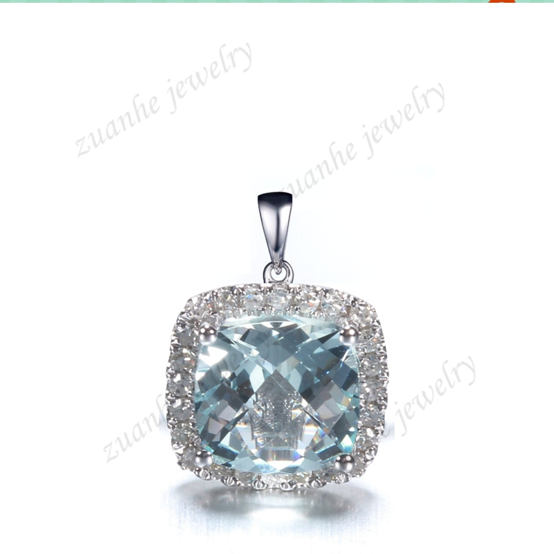 Solid 14k White Gold Natural Diamonds Halo Genuine Aquamarine Cushion Pendant 6x6mm Cushion