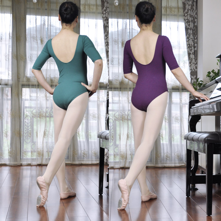 Novelty & Special Use Half Sleeve Adult Ballet Leotard Jumpsuit Female Ballet Costume Dance Gymnastics Body Dance Wear Ballet