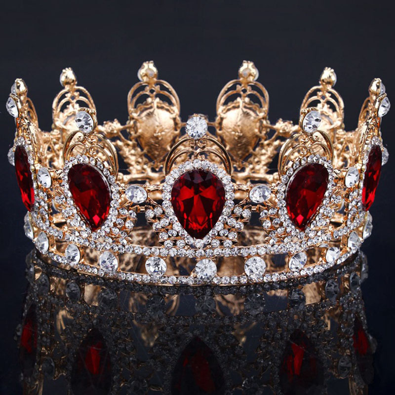 Big Water Drop Colorful Crystal Baroque Crown Red Gold Tiaras and Crowns for Bridal Wedding Hair Jewelry ishow hair sieraden 00009 red gold bride wedding hair tiaras ancient chinese empress hair piece