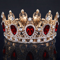 Big Water Drop Colorful Crystal Baroque Crown Red Gold Tiaras and Crowns for Bridal Wedding Hair Jewelry ishow hair sieraden