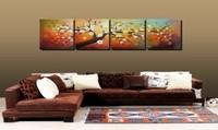 Handpainted 4 parça modern peyzaj dekoratif yağlıboya oturma odası için tuval duvar sanatı kiraz çiçeği resim