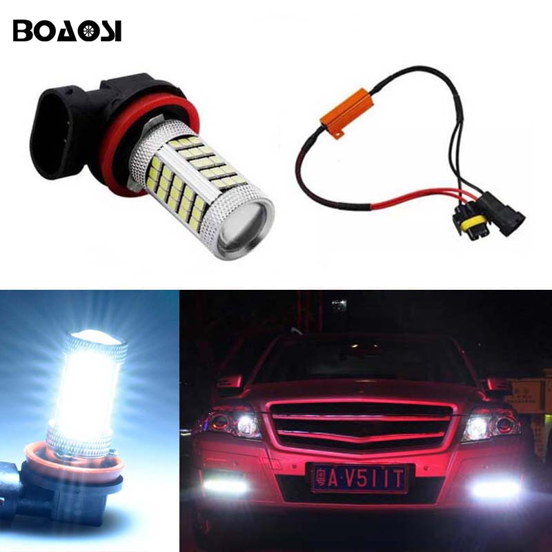 BOAOSI 1x H8 H11 Samsung 2835SMD LED Fog Light Driving Bulb + Canbus Decoders Error Free For Mercedes Benz W211 W212 W164 W221 boaosi 1x h11 led canbus 5630 33 smd bulbs reflector mirror design for fog lights no error for mercedes w211 w212 w164 w221
