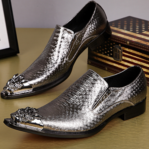 High Quality Dragon Metal Toe Men Dress Shoes Gold / Silver Snakeskin Pattern Chaussure Homme Handsome Wedding Shoes Men LoafersHigh Quality Dragon Metal Toe Men Dress Shoes Gold / Silver Snakeskin Pattern Chaussure Homme Handsome Wedding Shoes Men Loafers