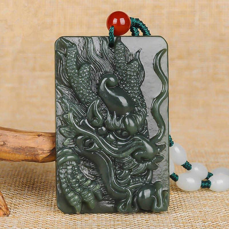 ขายส่งจีนแกะสลัก xinjiang Hetian qing หยกมังกรจี้หยกหินสร้อยคอ Lucky Amulet คู่ของขวัญเครื่องประดับ fine fine