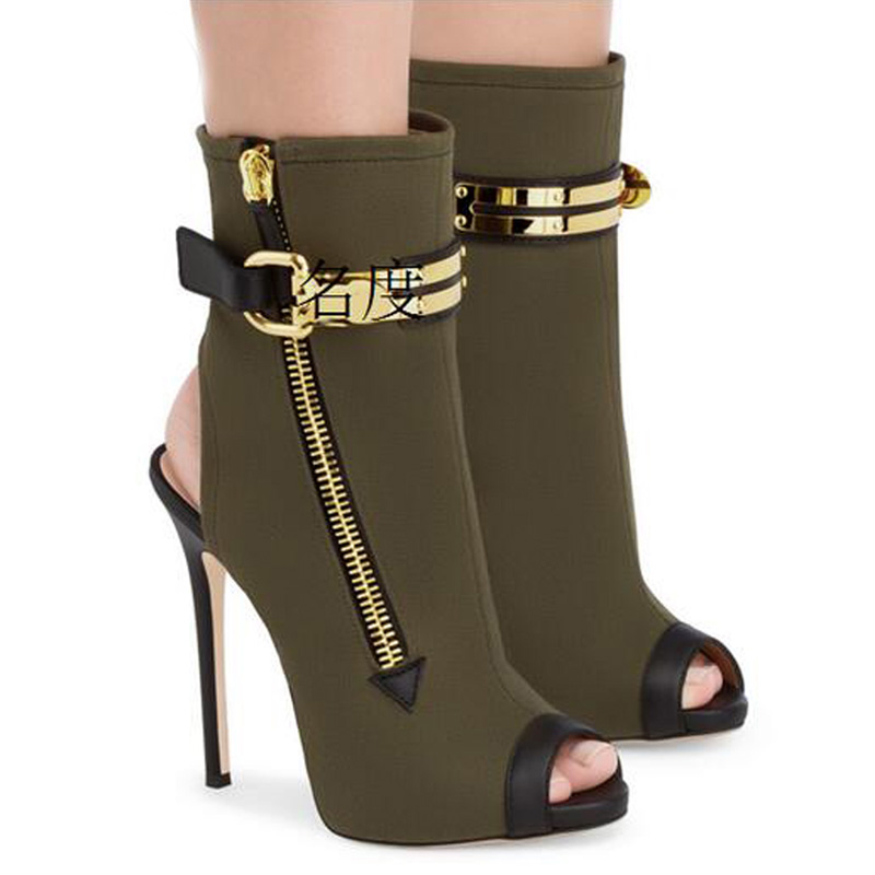 Women Summer Fashion Ankle Buckle Sandal Boots Zippered Peep Toe Gladiator High Heels Stiletto Ladies Dress Shoes