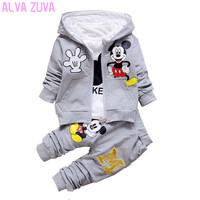 ALVA ZUVA Spring Autumn Children Clothing Sets Mickey Baby Boys Hooded Coat T Shirts Pants 3