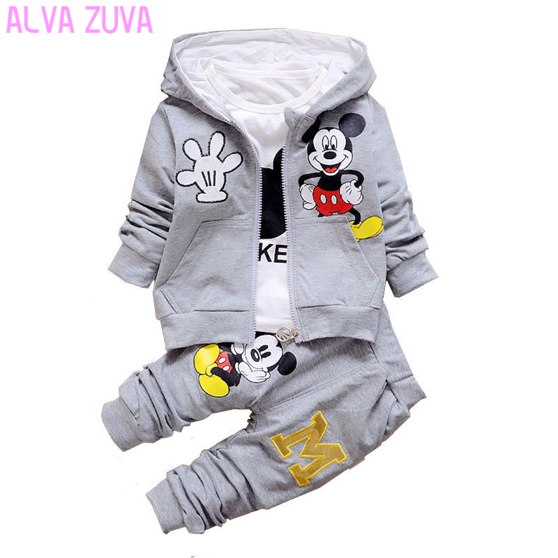ALVA ZUVA Spring/Autumn Children Clothing Sets Mickey Baby Boys Hooded Coat+T-Shirts+Pants 3 Pcs/Suit Cotton Kids Clothes Cyf069 kids clothes sets wholesale spring and autumn boys sports leisure suit t shirt hoodie long pants free shipping in stock