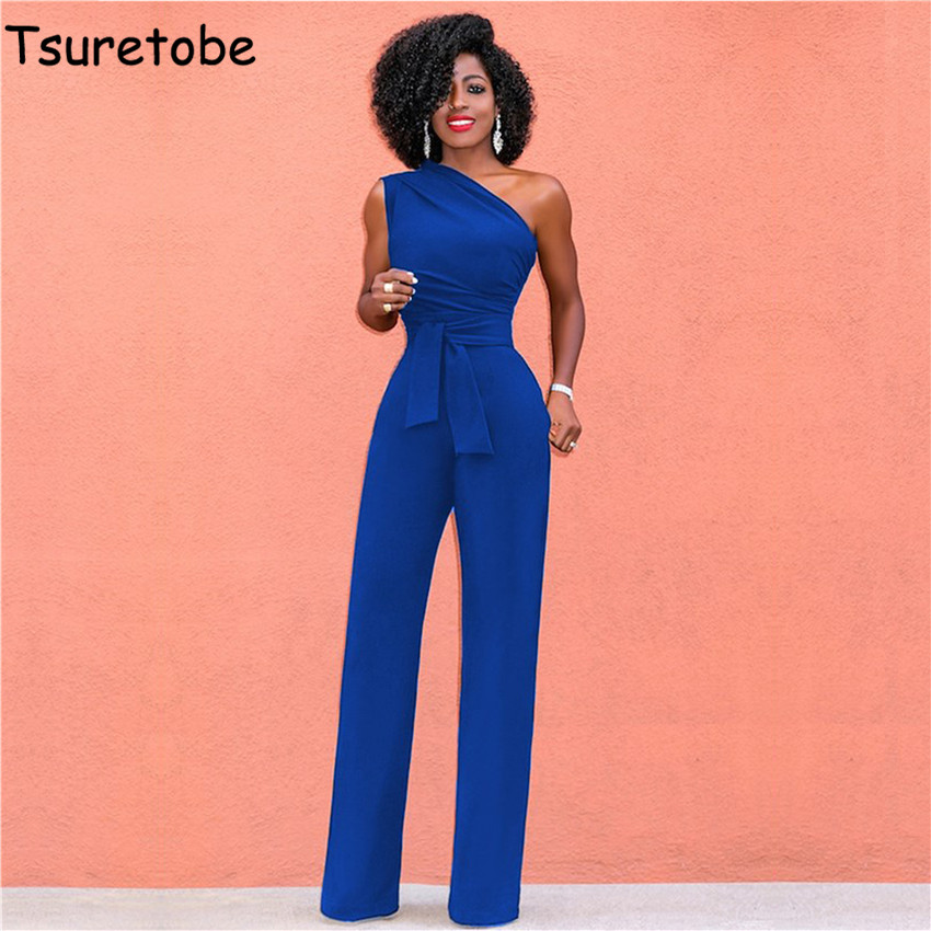 Tsuretobe Women Off Shoulder Casual Jumpsuits Wide Leg Pants Summer Elegant   Rompers   Womens Jumpsuit Party Overalls Female