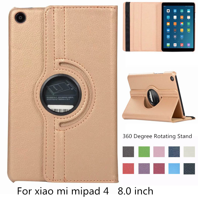 Fashion Litchi Rotation Degree Rotating Stand PU Leather Magnet Smart Cover Case For Xiaomi Mi Pad 4 Mi Pad4 Pad4 8.0 Inch + Pen