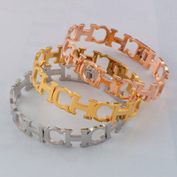 YUN RUO Top Brand Jewelry Rose Gold Silver Color CH Letters Bangle Bracelet 316L Stainless Steel