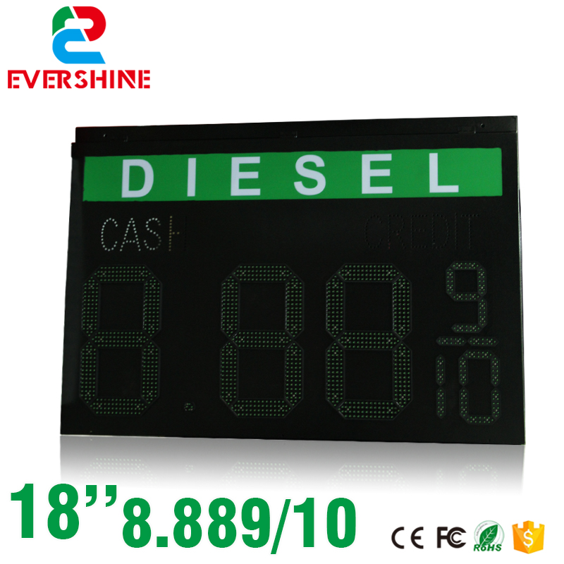 DIESEL Oil Gas and fuel digital numbers display screen 18'' green 8.889/10 digital  led oil petrol station price display sign hd high quality led gas price display sign outdoor led billboard green color 12 outdoor led display screen