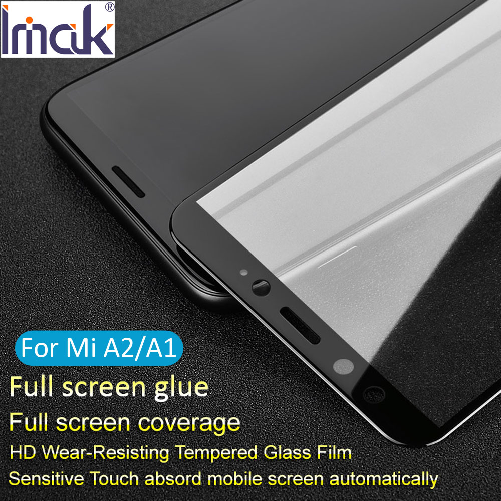 Imak Pro+ Version Full Screen Glue Cover Protective Tempered Glass For Xiaomi Mi A2 MiA2 A1 MiA1 2.5D Curved oleophobic