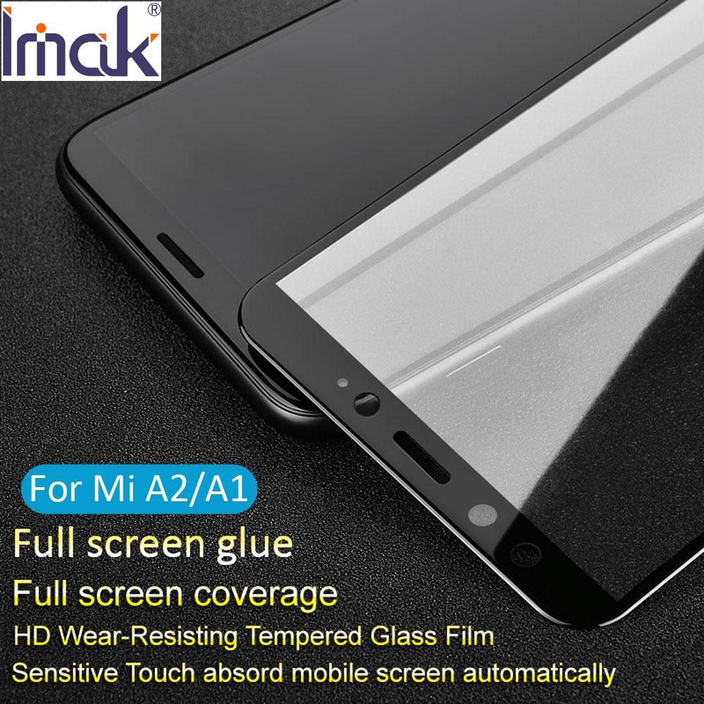Imak Pro+ Version Full Screen Glue Cover Protective Tempered Glass For Xiaomi Mi A2 MiA2 A1 MiA1 2.5D Curved oleophobic